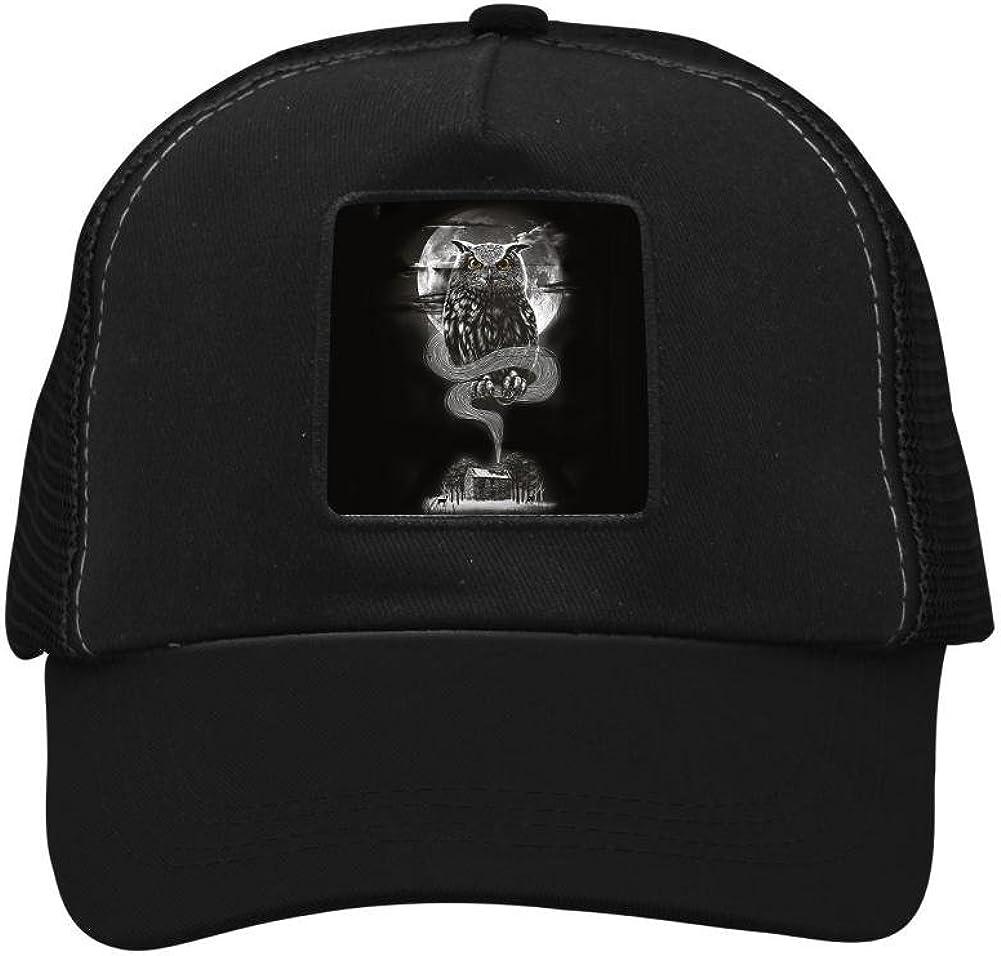 Adult Mesh Caps Hats Adjustable for Men Women Unisex,Print Owl Under The Moonlight