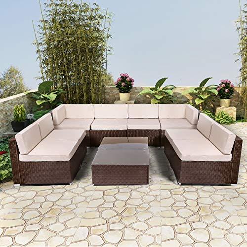 U-MAX Patio PE Rattan Wicker Sofa Set Outdoor Sectional Furniture Chair Set with Cushions and Tea Table (10 Pieces, Brown)
