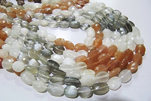 (AAA Quality Multi Moonstone Oval Faceted Beads, Size 7x9 to 8x10 Natural Beads, Strand 14 inches Long, Multi Color Beads)