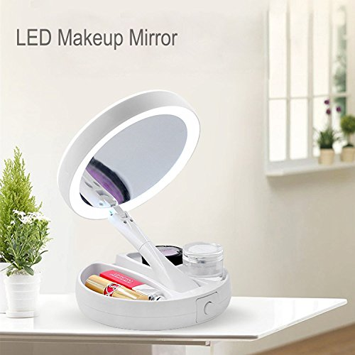 YFTECH Vanity Makeup Mirror 10x Magnifying Table Fold Double Mirror with LED Lights for Home Garden Decor and Travel USB Powder Supply(White) from YFTECH