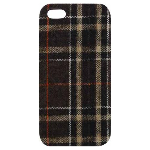 Tribeca Gear Fabric Hard-Shell Case for iPhone 5/5S - Retail Packaging - Brown Flannel