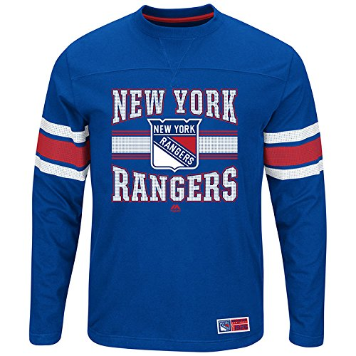Majestic New York Rangers Adult Royal Forecheck Long Sleeve T Shirt (X-Large)