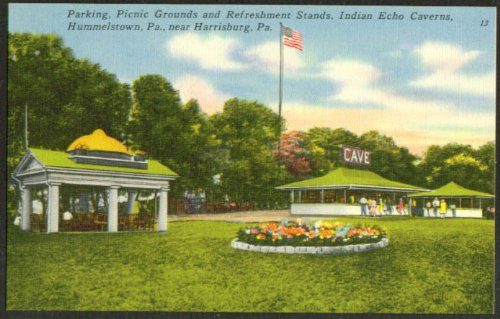 Stands Indian Echo Caverns Hummelstown PA postcard 1930s