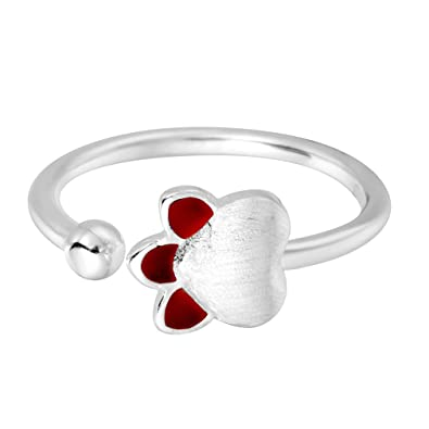 QIANDI Ladies Rings Lovely Double Puppy Dog Paw 925 Sterling Silver Open Ring for Women Girls yJDiHNzV