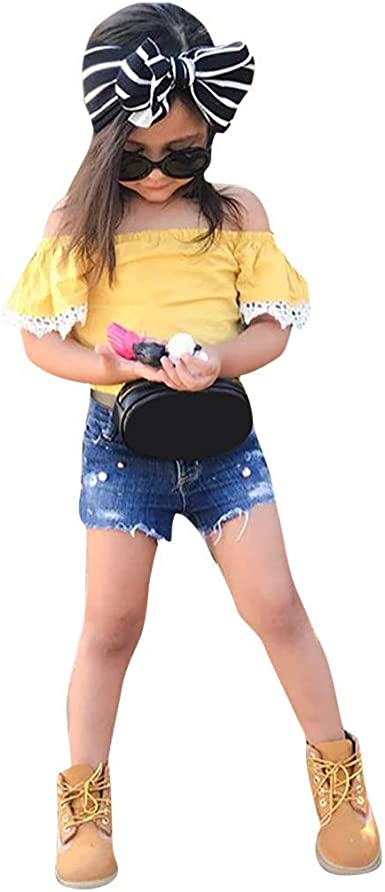 Fabal Toddler Kids Baby Girl Boy Star T-shirt Tops+Shorts Pants Outfits Clothes Set