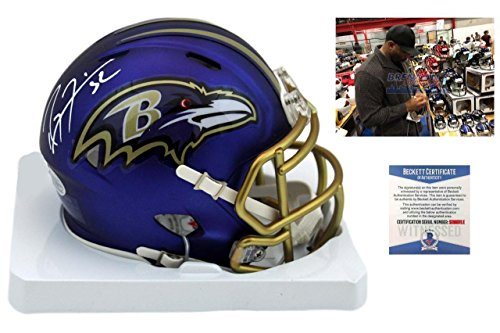 (Signed Ray Lewis Mini Helmet - Blaze Beckett - Beckett Authentication - Autographed NFL Mini Helmets)