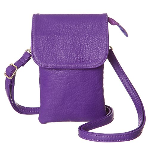 Mobile Phone Case Bag - MINICAT Roomy Pockets Series Small Crossbody Bags Cell Phone Purse Wallet For Women(Purple)
