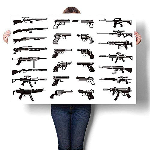 (Canvas Prints Wall Art,Gun Icons Set Colorful Paintings for Living Room,12