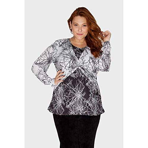 Blusa Com Decote Entrelaçado Plus Size Branco-48/50