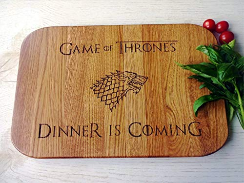 Dinner is Coming oak cutting board 11.5x15 inches rounded corners with handle Wooden Chopping block. Birthday gift. Gift for him ()