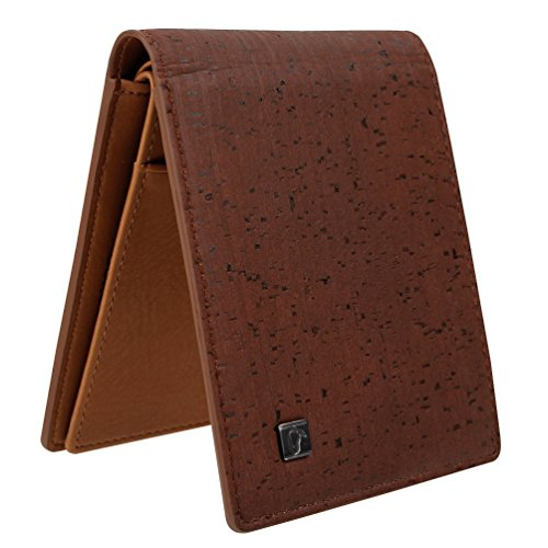 CORCO Eco Friendly Natural Cork Leather Elegant Wallets for Vegan Mens, Women Dark Brown (Animals Mens Wallet)