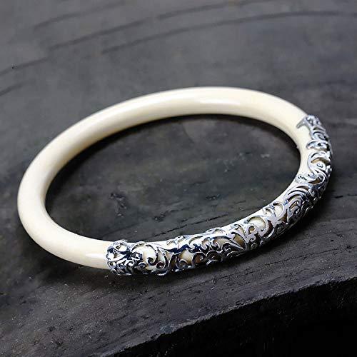 Thai Silver Gemstone Bracelet - Mayanyan Retro Round Thai Silver Jade Bracelet Inlaid S925 Sterling Silver Lady Jewelry Birthday Present