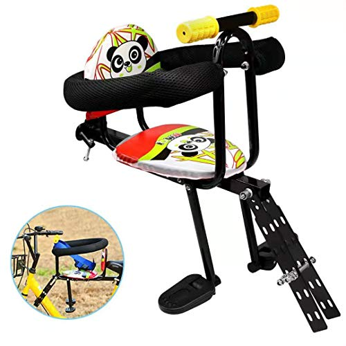 Together-life Front Mounted Child Bicycle Seat with Handrail and Pedal Bike Kids' Safety Seats Front Seat Saddle Cushion (Best Front Mounted Child Bike Seat)