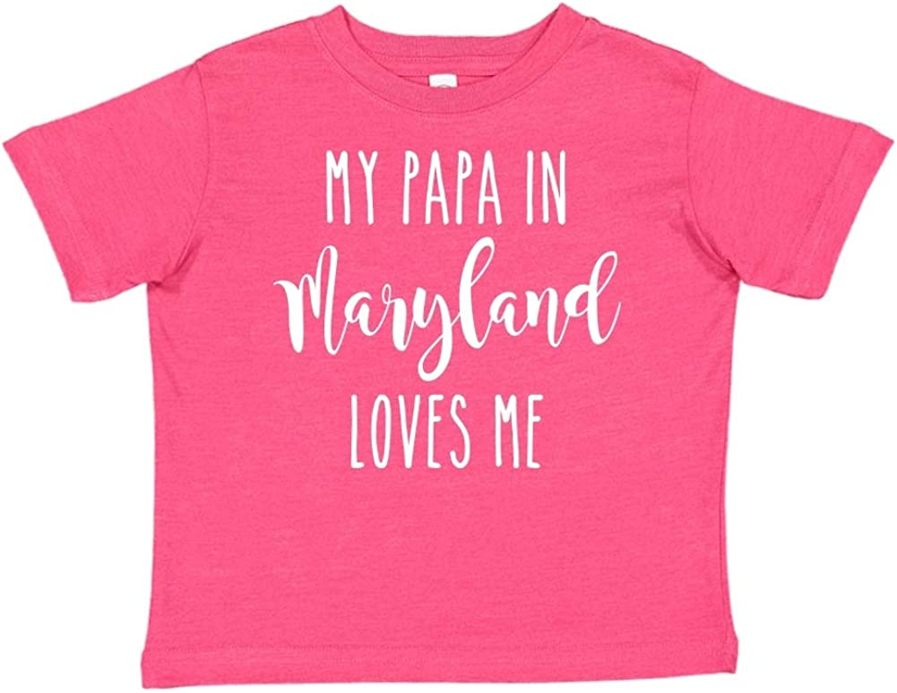 Toddler//Kids Short Sleeve T-Shirt My Papa in Maryland Loves Me