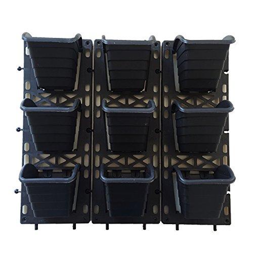 Malhotra Plastic Vertical Garden Pack Of 3 Sets Set, Black