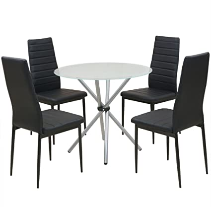 Amazoncom Festnight Piece Glass Dining Table Set With Chair - Coffee table with 4 chairs