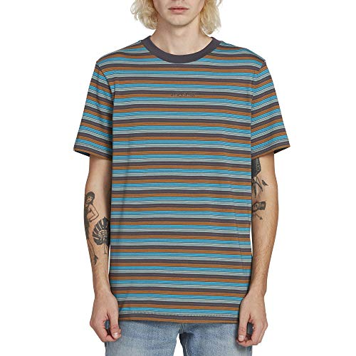(Volcom Men's Baywood Striped Crew Short Sleeve Tee, Asphalt Black Medium)