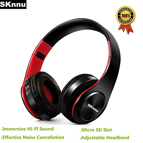 SKnnu Bluetooth Headphones Over Ear Wireless Headphones Noise Cancelling Headphones w/ AM FM Radio,Micro SD Card Slot,Built-in MIC,Foldable, Wireless Wired Dual Mode for PC/Cell Phones/TV Black Red (Bluetooth Fm Headphones Radio)