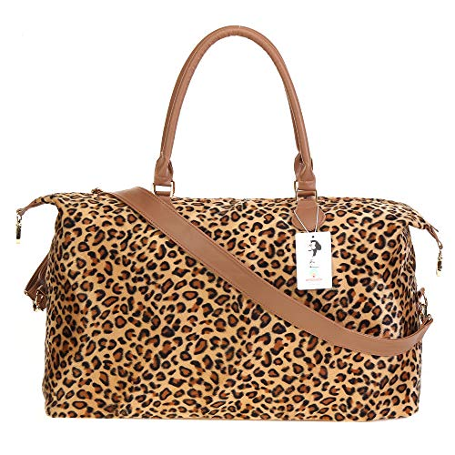 Leopard Weekender Bag Duffle Bag For Women Canvas Large Cheetah Tote Shoulder Bag With Shoulder Strap