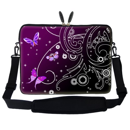 Handle Bag Strap 15 15 Hidden and Shoulder Computer Purple Carrying Case Laptop 6 Portable Swirl inch with Neoprene Sleeve Butterfly1 Adjustable Tww8qOx