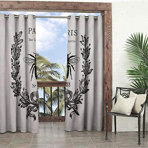(Linhomedecor Balcony Waterproof Curtains Rue Lafayette Bee Multicolor pergola Grommets Print Curtain 96 by 96 inch)