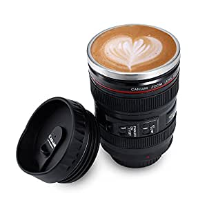 Amazon.com: Camera Lens Mug Novelty Office Coffee Mug Cup With Lid ...