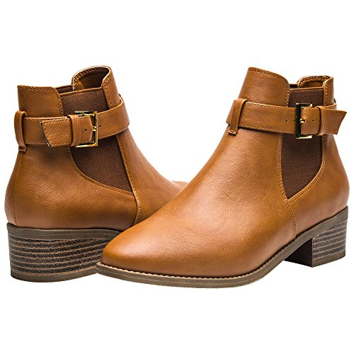 Luoika Ankle Boots for Women,Pu Leather Low Chunky Block Stacked Heels Round Toe Ankle Boots for Ladies,Winter Spring Short Slip on Ankle Boots for Lady Big Girls Kids Brown Size 7.5 Botin Ladies Boots