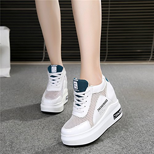 GTVERNH Damenschuhe Sommer Hochhackigen Schuhe 12Cm Lässig Frende Hohe Frende Lässig Frauen Schuhe Weiße Hohl Atmungsaktive Dick - Mesh - Schuhe. 89286b