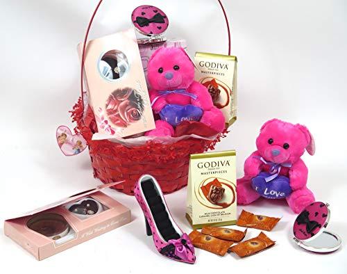 Jacki Design Valentine's Gift Basket, Includes Chocolate, Jewelry Set, Dark Pink Shoe Jewelry holdder
