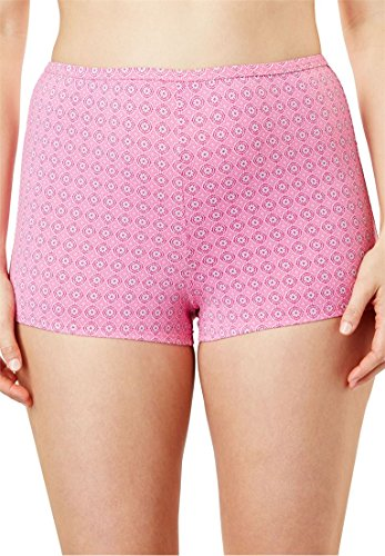 Comfort Choice Women's Plus Size Stretch Microfiber Boyshort Fresh Berry,12