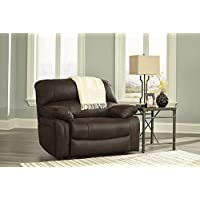 Ashley Zavier Wide Seat Faux Leather Recliner in Truffle