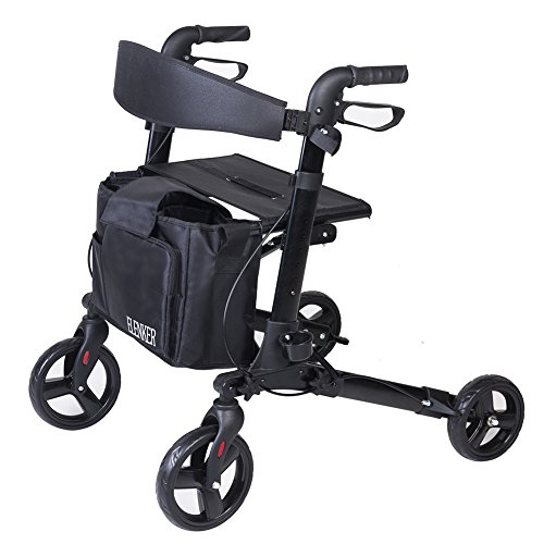 ELENKER Medical Four Wheels Rollator Walker with Seat, Cane Holder and Locking Brakes
