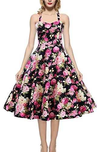 1950er Jahre Halfter florale Vintage Rockabilly Kleid für Damen