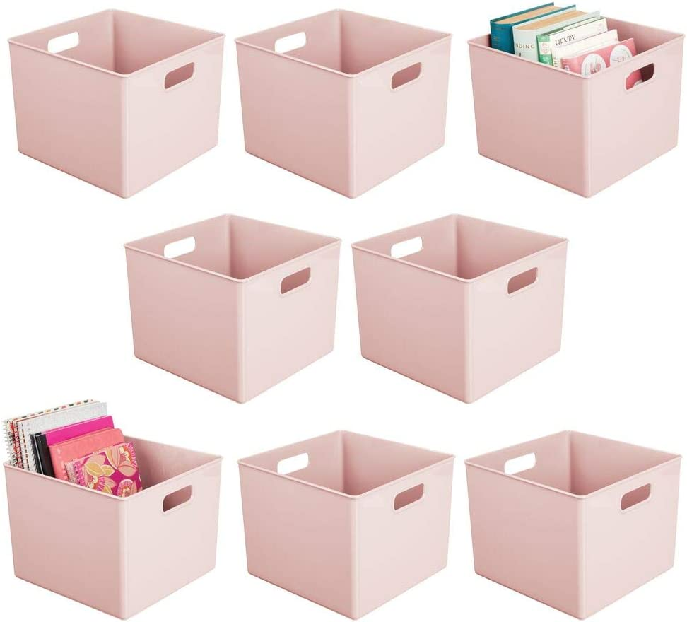 mDesign Plastic Home Storage Organizer Bin for Cube Furniture Shelving in Office, Entryway, Closet, Cabinet, Bedroom, Laundry Room, Nursery, Kids Toy Room - 8 Pack - Light Pink