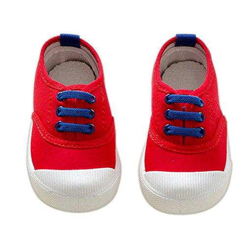 ALUK- Zapatos de niños de lona Zapatos blancos pequeños Zapatos de bebé Zapatos de estudiantes ( Color : Rojo , Tamaño : 23 ) Rojo
