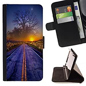 Momo Phone Case / Flip Funda de Cuero Case Cover - Magical Sunset Mundial Árbol Arte Camino Niebla Amanecer - HTC One M8