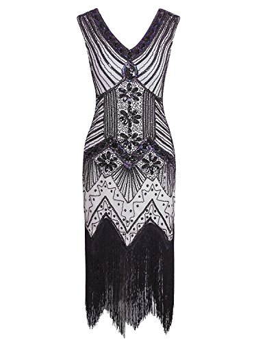 1920's Art - Vijiv 1920s Gastby Sequin Art Nouveau Deco Embellished Night Out & Cocktail Dress, XLarge, Black White