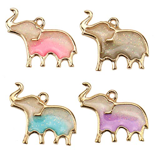 JETEHO 16Pcs Elephant Charms Alloy Enamel Elephant Pendants Charms Beads for Jewelry Making Necklace and Bracelet