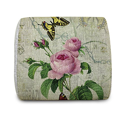 12nights Flowers and Butterfly Memory Foam Lumbar Back Support Cushion for Car and Office Seats, Sofa and Other Chairs