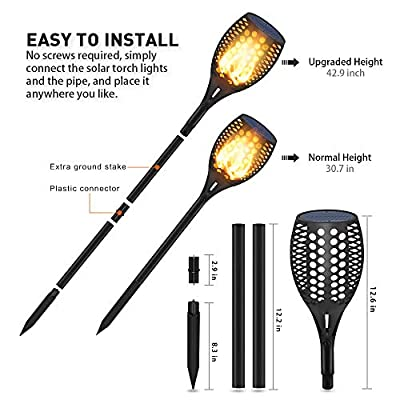 Ambaret Solar Lights Upgraded, Outdoor Waterproof Flickering Flames Torches Lights Solar Spotlights Landscape Decoration Lighting Dusk to Dawn Auto On/Off Torch Light for Pation Garden