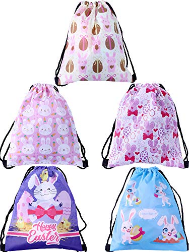 Zhanmai 5 Pieces Easter Drawstring Bags Storage Tote Bag Gifts Packing Shopping Bags for Easter Day Travelling -