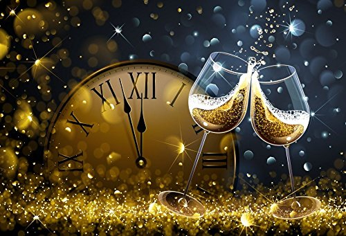 Baocicco 7x5ft Happy New Year Backdrop Countdown Party Shining Champagne Wine Glasses Bokeh Halos Backdrop Vinyl Photography Background New Year Eve Christmas Eve Party Winter Holiday Festival