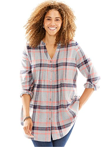 Woman Within Womens Plus Size Pintuck Flannel Bigshirt Heather Grey Plaid 3X