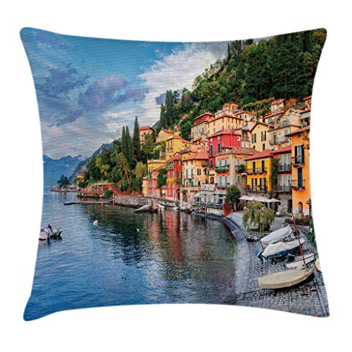Ambesonne Italian Decor Throw Pillow Cushion Cover, Summer Village by Mediterranean Sea with Yacht Boats Idyllic Town Panorama, Decorative Square Accent Pillow Case, 18 X18 Inches, Multicolor