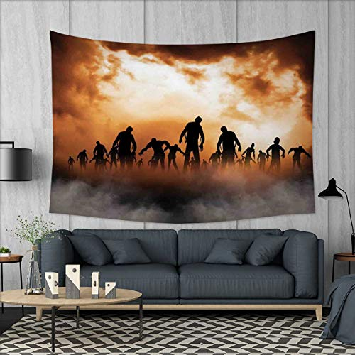 smallbeefly Halloween Tapestry Wall Hanging 3D Printing Zombies Dead Men Walking Body in The Doom Mist at Night Sky Haunted Theme Print Beach Throw Blanket 60