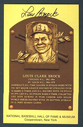 Lou Brock St. Louis Cardinals Signed 3 1/2 x 5 1/2 Hall of Fame Post Card 124256