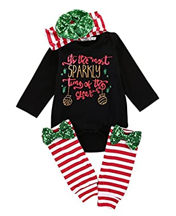 4pcs baby girls boys christmas romper outfit romper leggings headband xmas suit - What To Buy A Girl For Christmas