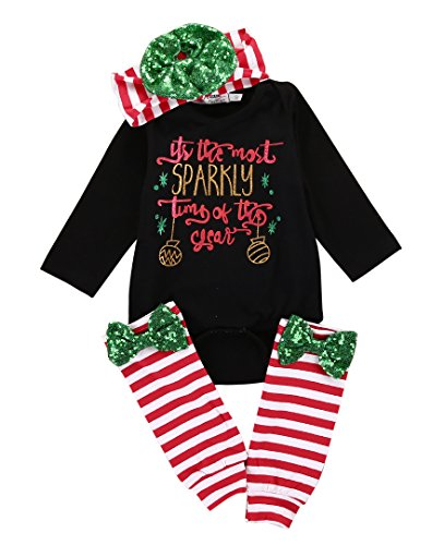 [4pcs Baby Girls Boys Christmas Romper Outfit Romper+ Leggings+ Headband Xmas Suit (12~18months,] (Christmas Outfits Baby)