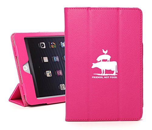 For Apple iPad Air Faux Leather Magnetic Smart Case Cover Friends, Not Food Vegan Farm Animal Rights (Hot-Pink)