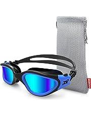 Schwimmbrille für Herren und Damen, ZIONOR G1 Polarisiert Schwimmbrille mit Spiegel/Rauch Linse UV-Schutz Wasserdicht Anti Nebel Verstellbar Gurt Komfort Fit für Unisex Erwachsene Jugendliche
